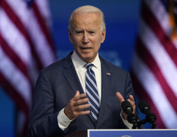 President-elect Joe Biden speaks Tuesday, Nov. 10, 2020, at The Queen theater