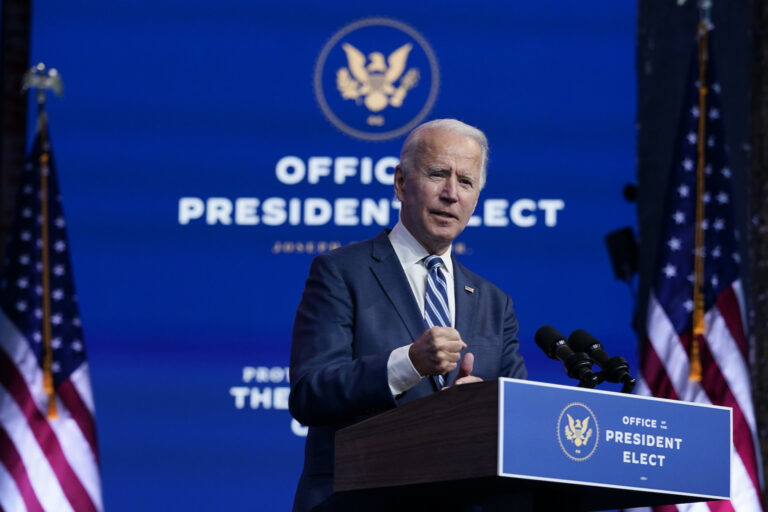 President-elect Joe Biden speaks at The Queen theater, Tuesday, Nov. 10, 2020, in Wilmington, Del. (AP Photo/Carolyn Kaster)