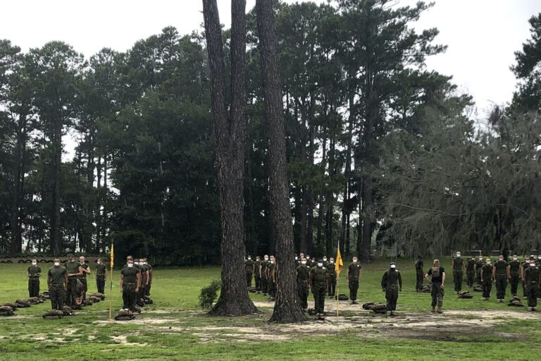 Marine recruits at Parris Island Recruit Depot, S.C., on May 27, 2020. In ways big and small, the virus is impacting training at the Marine Corps' Parris Island Recruit Depot and across the military. (AP Photo/Lolita Baldor)
