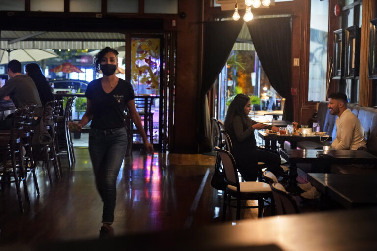 Patrons dine at The Brass Rail in Hoboken, N.J.