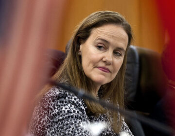 This Dec. 7, 2011 file photo shows former U.S. Defense Undersecretary Michele Flournoy, preparing for a bilateral meeting in Beijing, China. (AP Photo/Andy Wong)