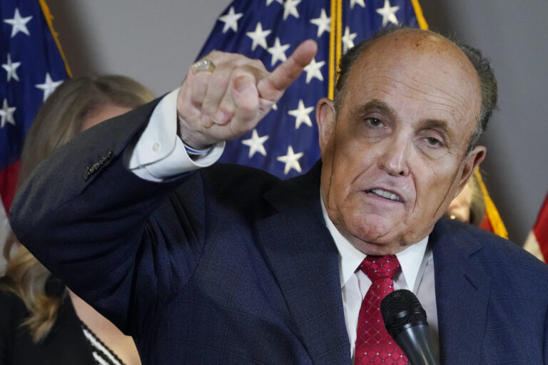 Rudy Giuliani speaks during a news conference