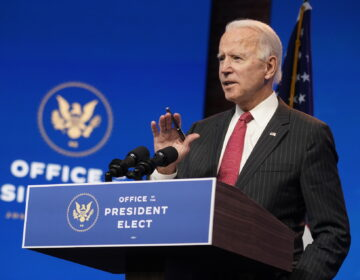 President-elect Joe Biden, accompanied by Vice President-elect Kamala Harris, speaks at The Queen theater, Thursday, Nov. 19, 2020, in Wilmington, Del. (AP Photo/Andrew Harnik)