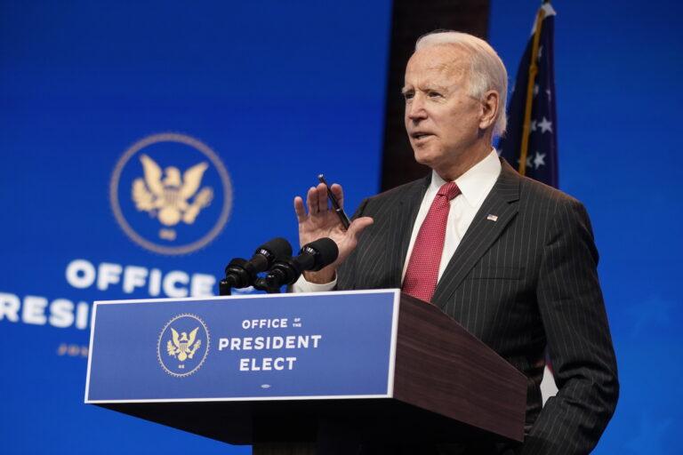 President-elect Joe Biden speaks from a podium
