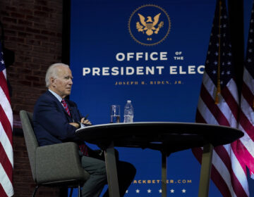 President-elect Joe Biden pauses as he speaks during a virtual meeting with the United States Conference of Mayors at The Queen theater Monday, Nov. 23, 2020, in Wilmington, Del. (AP Photo/Carolyn Kaster)