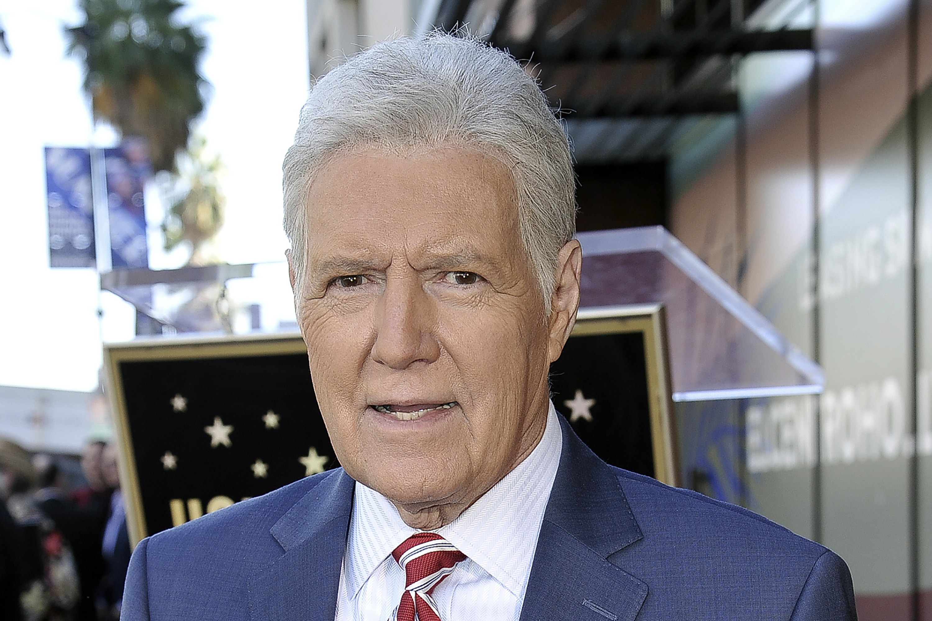 "Alex Trebek, host of ""Jeopardy!"" attends a ceremony on the Hollywood Walk of Fame"