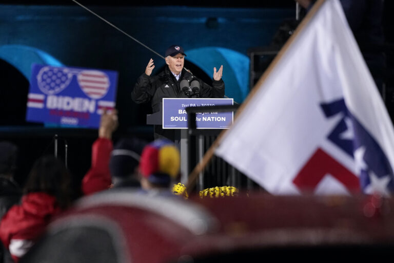 Democratic presidential candidate former Vice President Joe Biden speaks at a drive-in rally at FDR Park