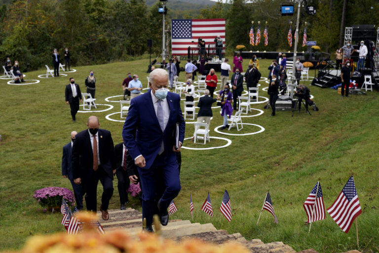 Democratic presidential candidate former Vice President Joe Biden leaves after speaking at Mountain Top Inn & Resort, Tuesday, Oct. 27, 2020, in Warm Springs, Ga