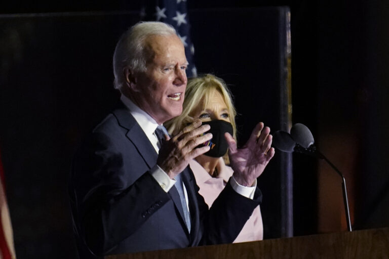 Democratic presidential candidate former Vice President Joe Biden speaks to supporters