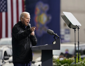 "Joe Biden speaks at a ""Souls to the Polls"" drive-in rally at Sharon Baptist Church"