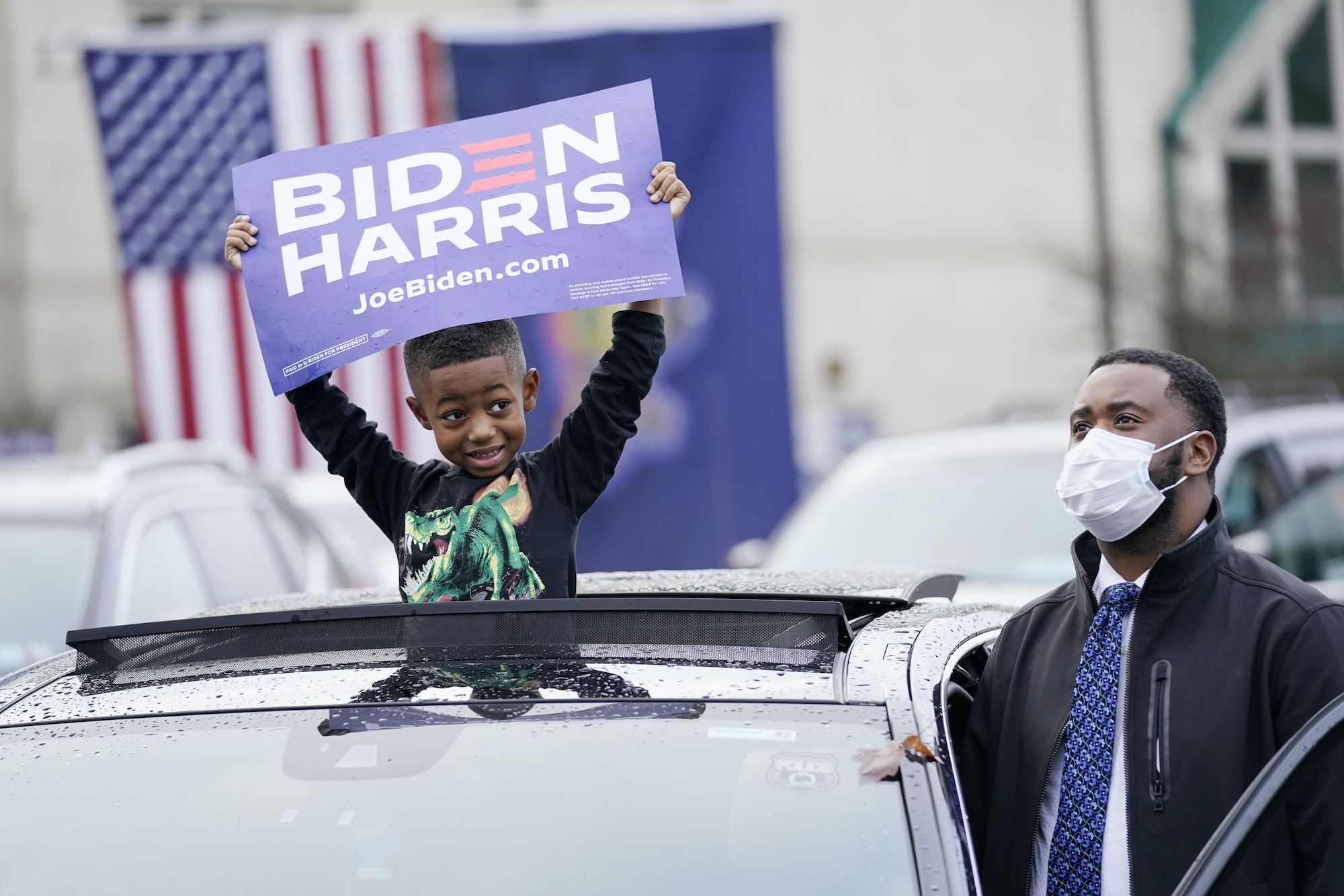 "Supporters attend a ""Souls to the Polls"" drive-in rally for Democratic presidential candidate former Vice President Joe Biden, at Sharon Baptist Church"