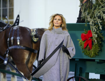 First lady Melania Trump stands next to the 2020 Official White House Christmas tree