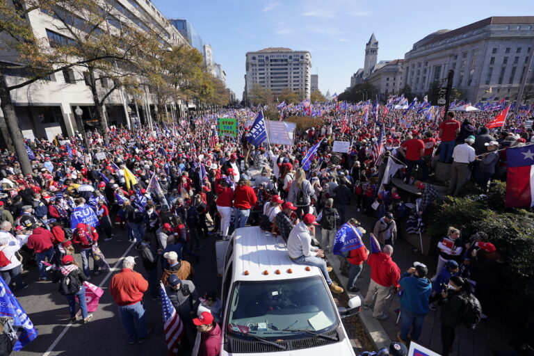 Supporters of President Donald Trump rally at Freedom Plaza