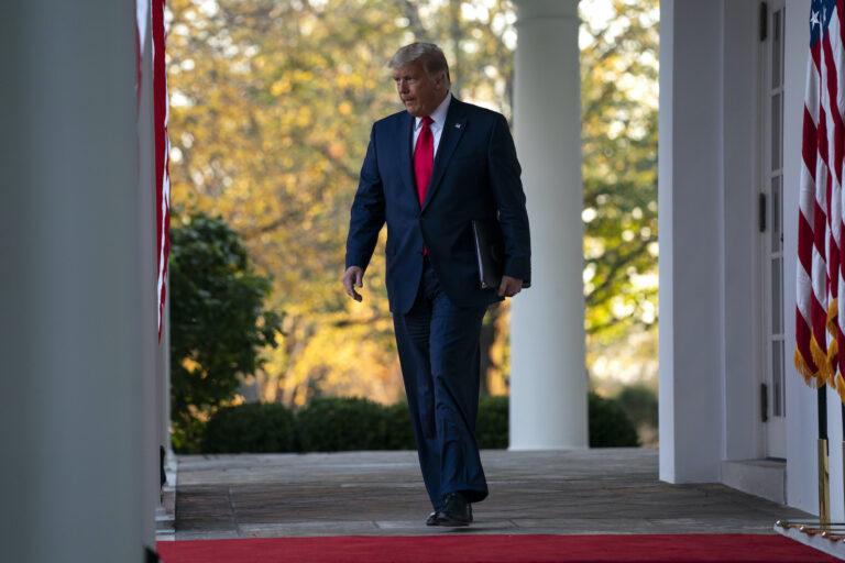 President Donald Trump arrives to speak in the Rose Garden