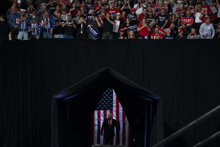 President Donald Trump arrives to speak at a campaign rally