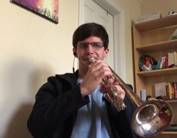 Alex Morrison plays the trumpet