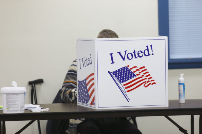 Polls opened at 6 A.M in Cherry Hill, N.J. on Election Day. (Miguel Martinez for WHYY)