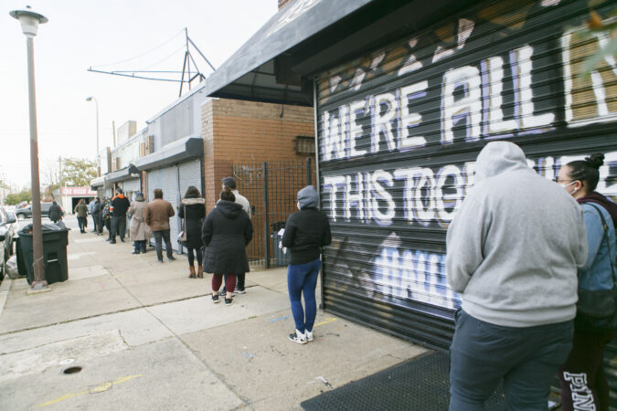 Voters line up at a polling place in Northern Liberties, Philadelphia on Election Day 2020. (Miguel Martinez for WHYY)