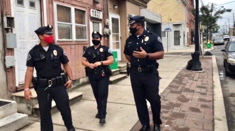 Camden police officers Juan Torres, Sophia Grandinetti, and Lieutenant Gabriel Rodriguez. (Chantale Belefanti)