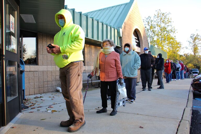 Voters wait in line at Brookhaven Municipal Center in Delaware Country, Pa.