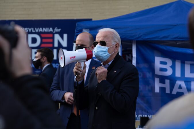 Democratic presidential candidate Joe Biden made a campaign stop in Northwest Philadelphia on Election Day. (Kimberly Paynter/WHYY)