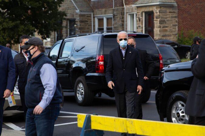 Joe Biden arrives in Northwest Philadelphia on Election Day.