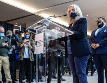 City Commissioner Lisa Deeley announces the latest expectation of when all votes in Philadelphia will be counted. (Kimberly Paynter/WHYY)