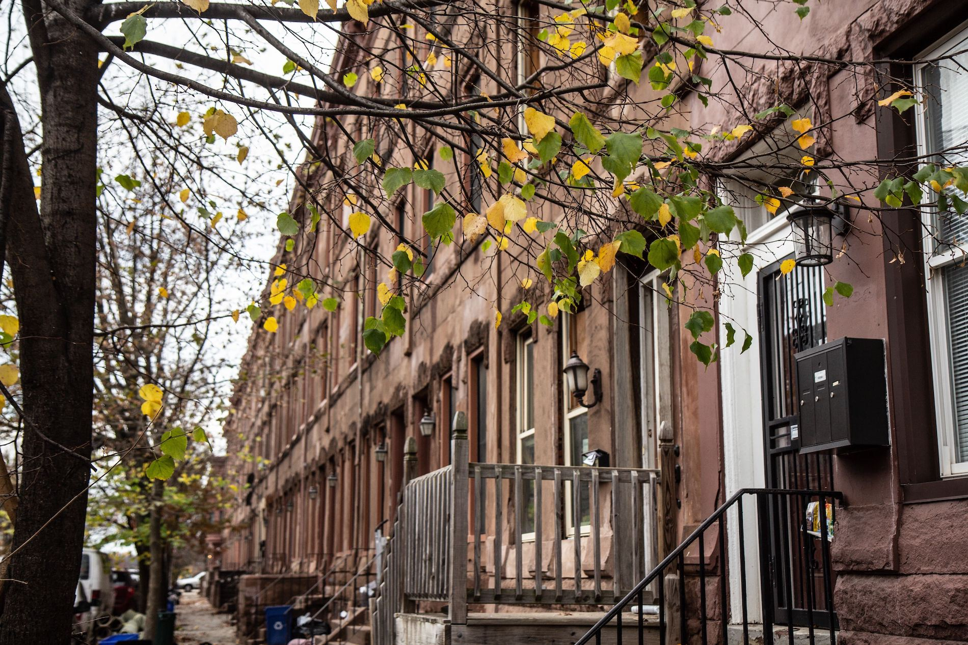 Brownstones on the 3100 block of Diamond Street in Philadelphia's Strawberry Mansion neighborhood.