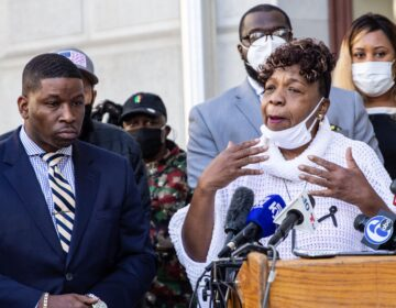 Shaka Johnson, attorney for the Wallace family, (left) and Gwen Carr (right), mother of Eric Gardner, spoke in support of the Wallace family and Wallace's mother who is bedridden with grief. (Kimberly Paynter/WHYY)