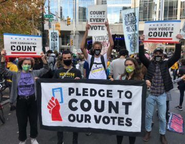 Ed Brown (center in group photo), 17, stands with friends and Sunrise members at the Count Every Vote rally Thursday (Miles Bryan / WHYY)