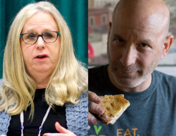 Dr. Rachel Levine (left) and Restaurateur Marc Vetri (Bastiaan Slabbers for WHYY / Billy Penn)