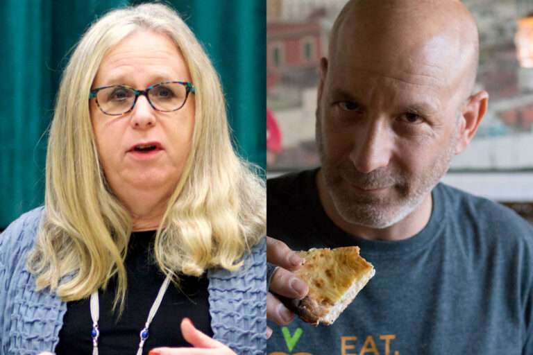 Dr. Rachel Levine (left) and Restaurateur Marc Vetri (Bastiaan Slabbers for WHYY / Billy Penn)