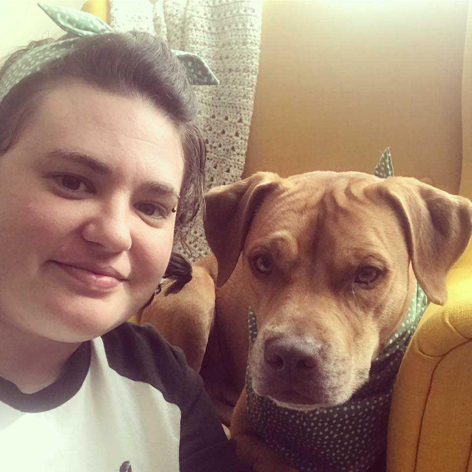 Meg Hutchins with a cute dog