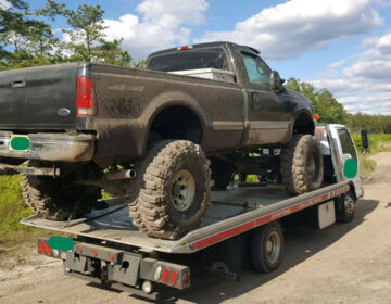 DEP officials impounded a pickup truck that was being illegally driven in the Pinelands. (Jon Hurdle/NJ Spotlight)
