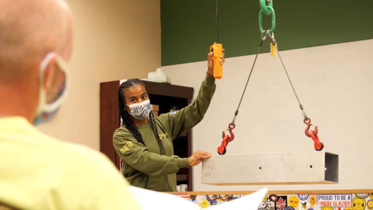 Tureka Dixon instructing FTI apprentices at a recent class. (Courtesy of IUPAT District Council 21)