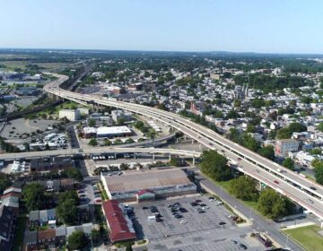A four mile stretch of I-95, seen here looking south through the city of Wilmington. (Courtesy of DelDOT)