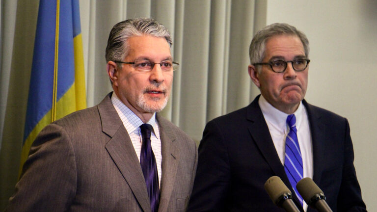 Anthony Voci (left) with District Attorney Larry Krasner in 2019. (Emma Lee/WHYY)