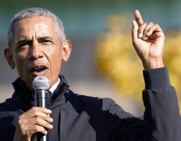 Former President Barack Obama speaks at a rally