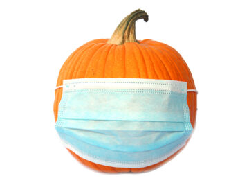Pumpkin with a Medical Face Mask