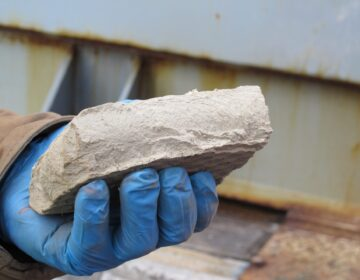A brick of solid waste remains after frack water is recycled.