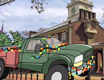 An illustration of a truck carrying a Christmas tree overlays a photo of Independence Hall in Philadelphia.