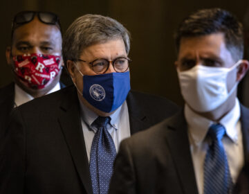 Attorney General Bill Barr leaves the U.S. Capitol after meeting with Senate Majority Leader Mitch McConnell Monday.