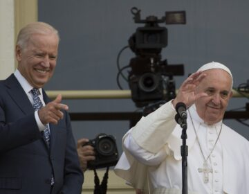President-elect Joe Biden spoke Thursday morning with Pope Francis. The two met in Washington, D.C., in 2015. (Andrew Caballero-Reynolds/AFP via Getty Images)
