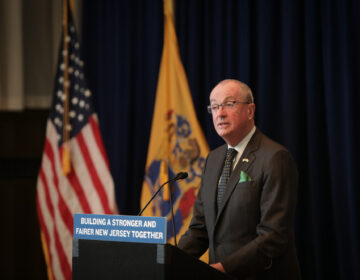 New Jersey Gov. Phil Murphy addresses the media in Trenton
