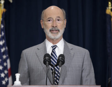 Pennsylvania Gov. Tom Wolf addresses the press. in Harrisburg.