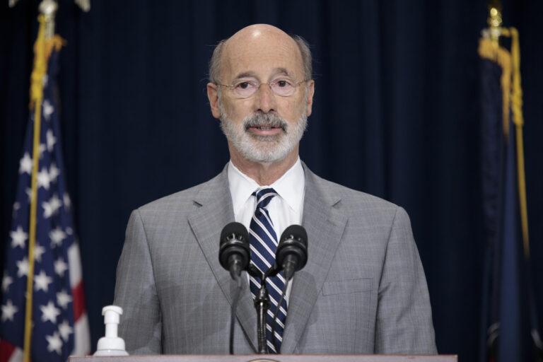 Pennsylvania Gov. Tom Wolf addresses the press. in Harrisburg.