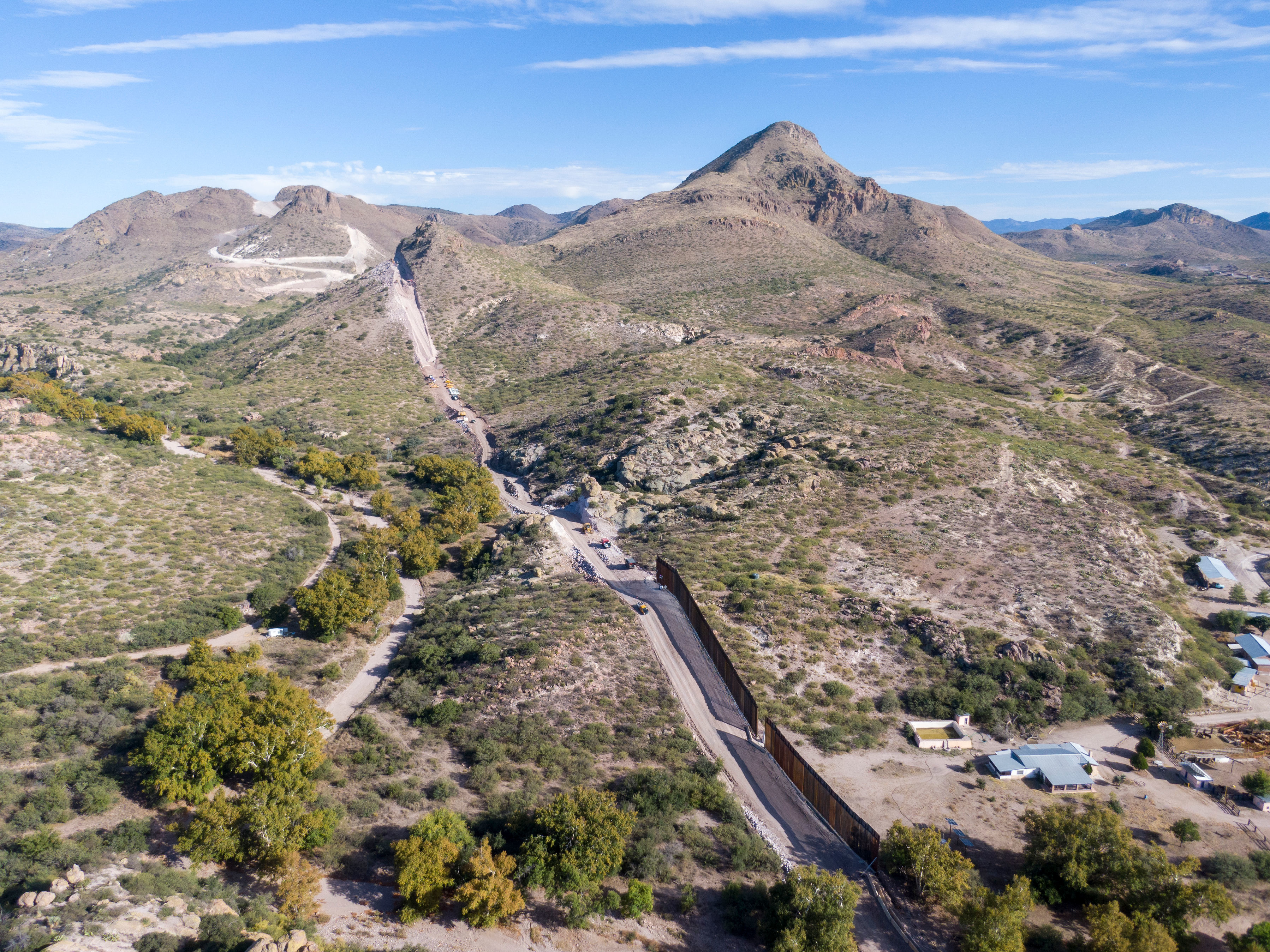 A portion of the border wall is under construction in Guadalupe Canyon