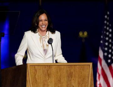 Vice President-elect Kamala Harris speaks Saturday, Nov. 7, in Wilmington