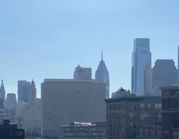 Pollution caused a noticeable haze over the Philly skyline on Monday DANYA HENNINGER / BILLY PENN