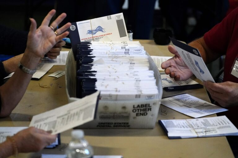 Chester County election workers process mail-in and absentee ballots for the 2020 general election in the United States at West Chester University, Wednesday, Nov. 4, 2020, in West Chester. (Matt Slocum/AP Photo)